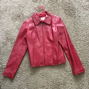 Oleg Casini Women's Red Leather Jacket - Size S
